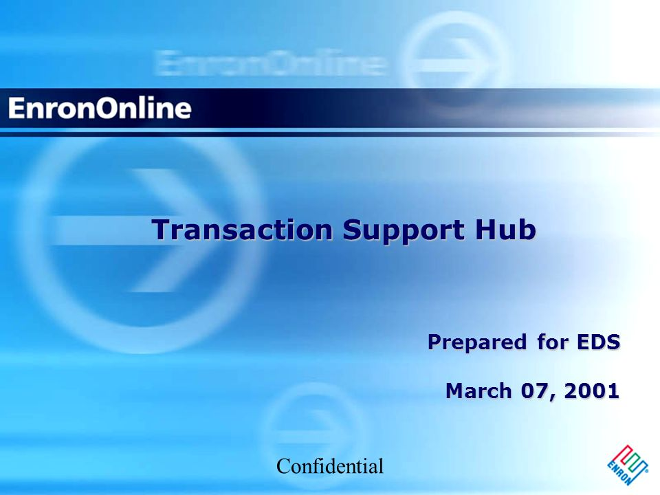 Confidential Transaction Support Hub Prepared for EDS March 07, 2001