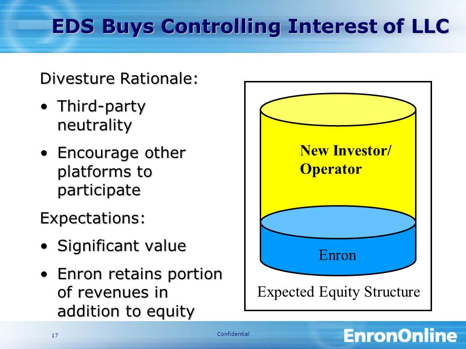 Confidential 17 Divesture Rationale: Third-party neutralityThird-party neutrality Encourage other platforms to participateEncourage other platforms to participateExpectations: Significant valueSignificant value Enron retains portion of revenues in addition to equityEnron retains portion of revenues in addition to equity New Investor/ Operator Enron Expected Equity Structure EDS Buys Controlling Interest of LLC