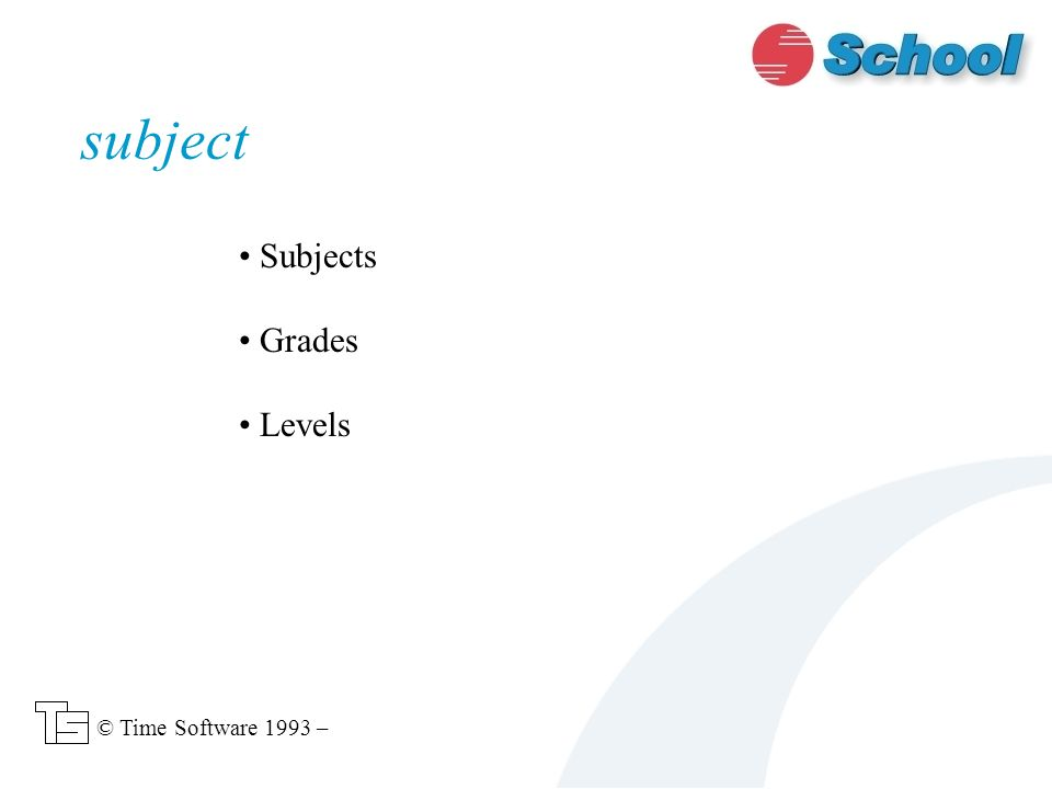 Subjects Grades Levels subject © Time Software 1993 –