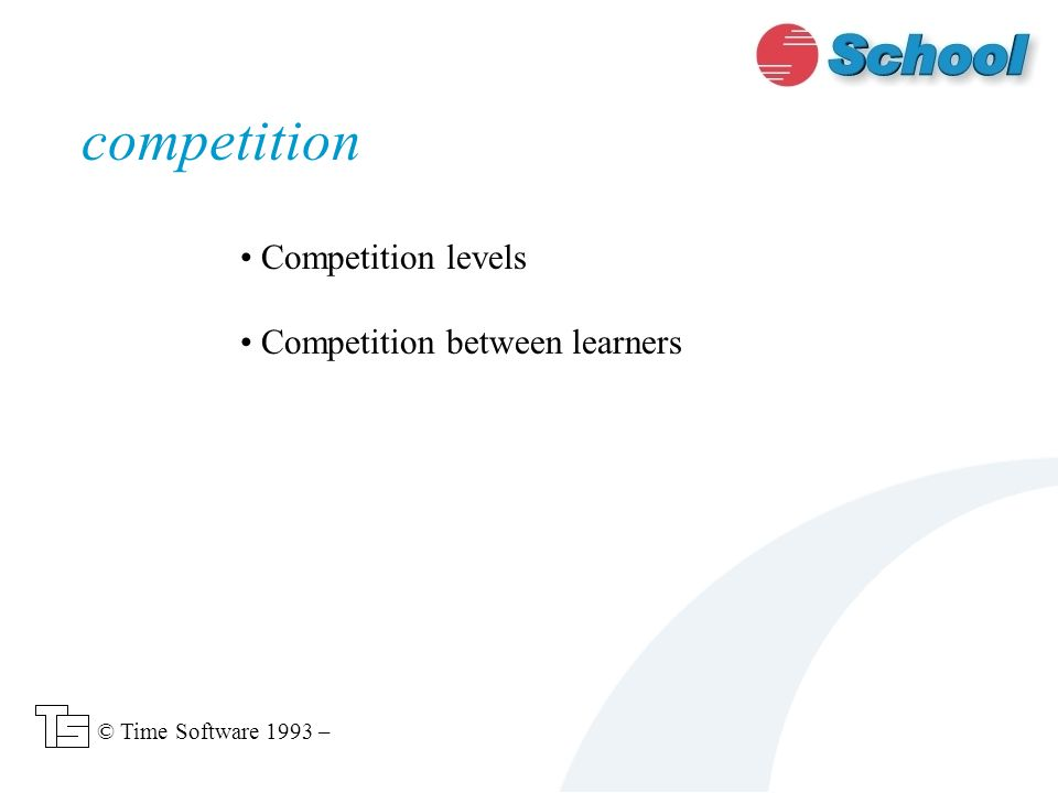 Competition levels Competition between learners competition © Time Software 1993 –