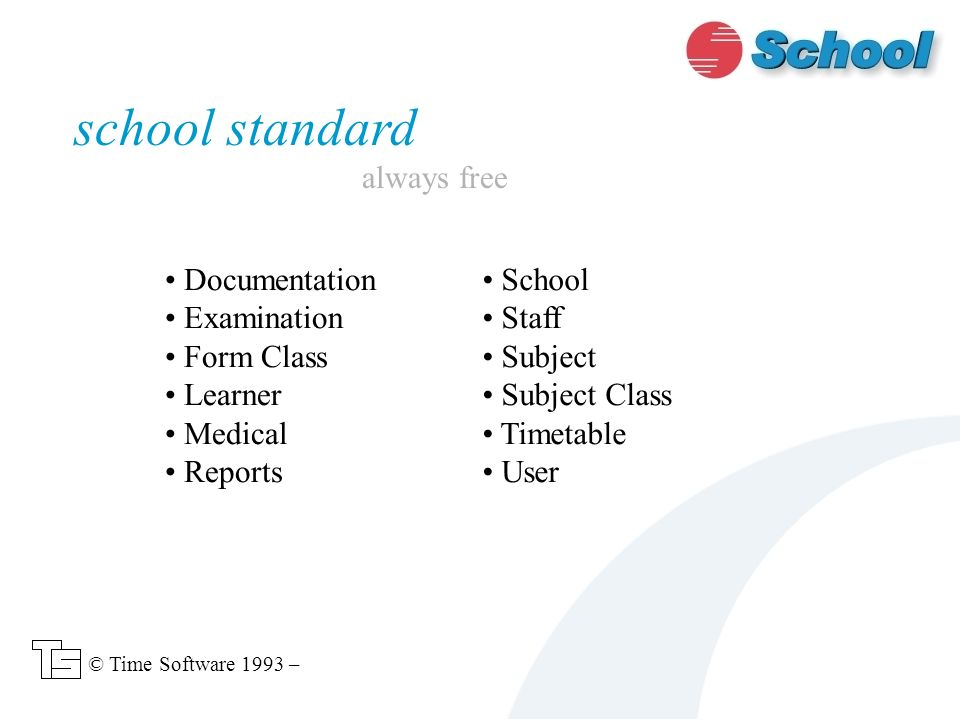 Documentation Examination Form Class Learner Medical Reports school standard always free © Time Software 1993 – School Staff Subject Subject Class Timetable User