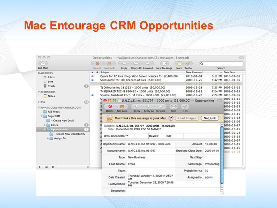 Mac Entourage CRM Opportunities