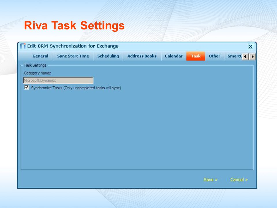 Riva Task Settings