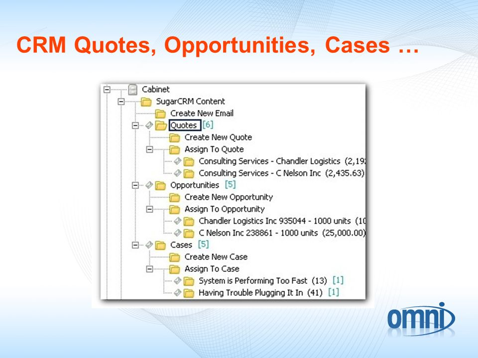 CRM Quotes, Opportunities, Cases …