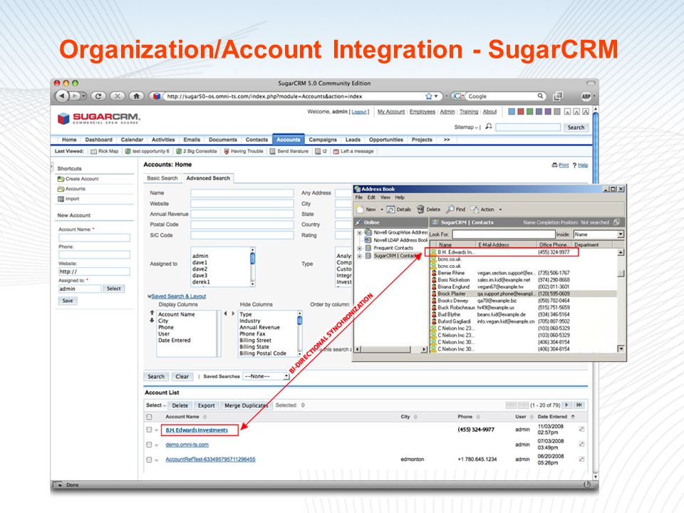 Organization/Account Integration - SugarCRM