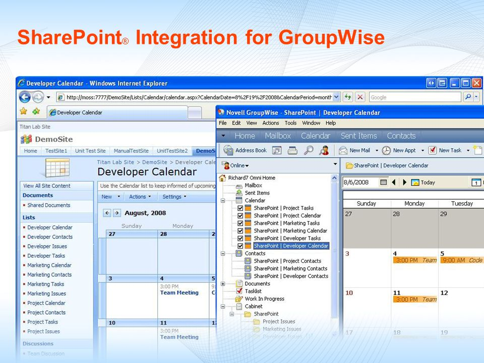 SharePoint ® Integration for GroupWise