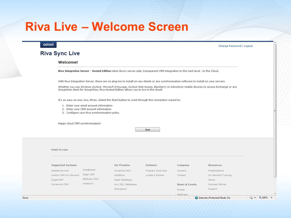 Riva Live – Welcome Screen