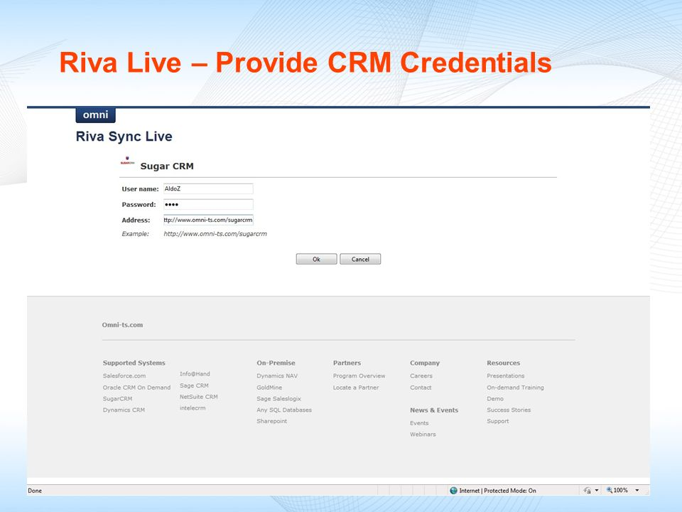 Riva Live – Provide CRM Credentials