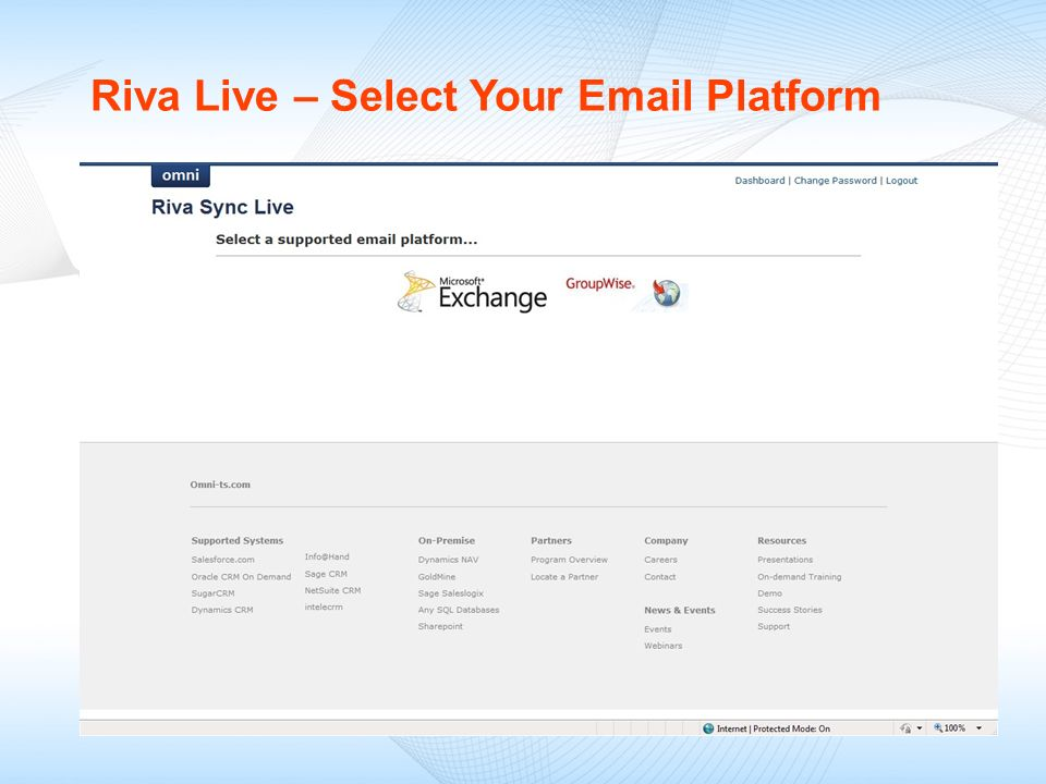 Riva Live – Select Your Email Platform