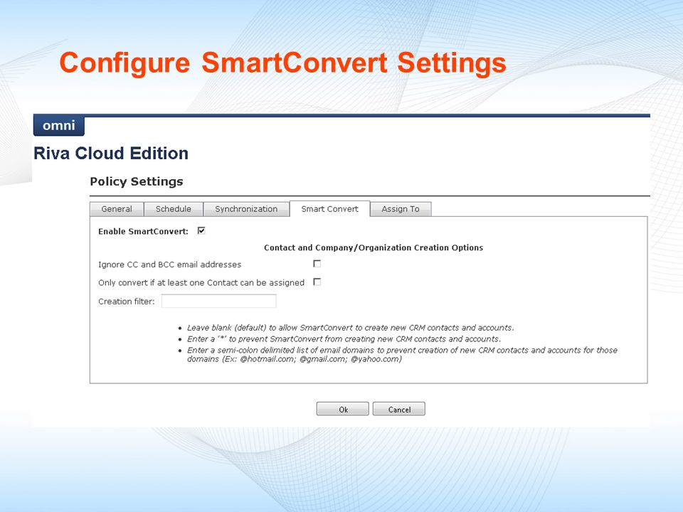 Configure SmartConvert Settings