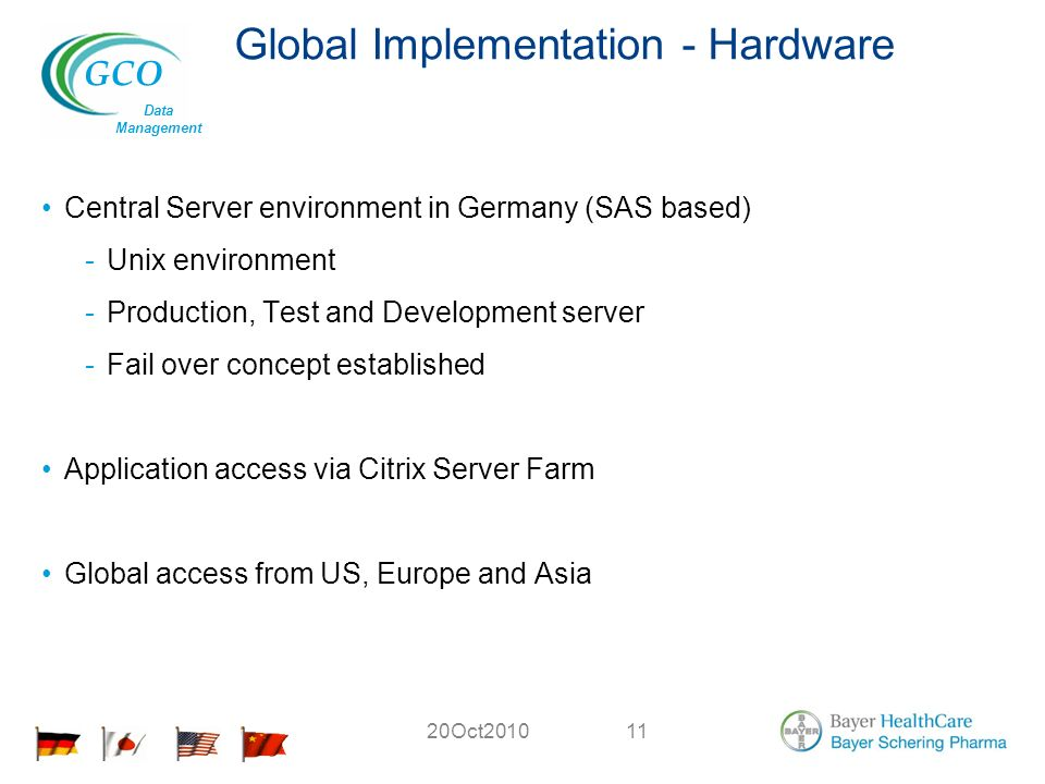 GCO Data Management 20Oct Global Implementation - Hardware Central Server environment in Germany (SAS based) -Unix environment -Production, Test and Development server -Fail over concept established Application access via Citrix Server Farm Global access from US, Europe and Asia