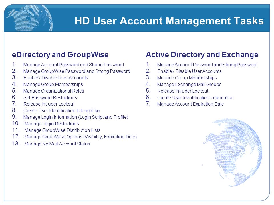 HD User Account Management Tasks eDirectory and GroupWise 1.