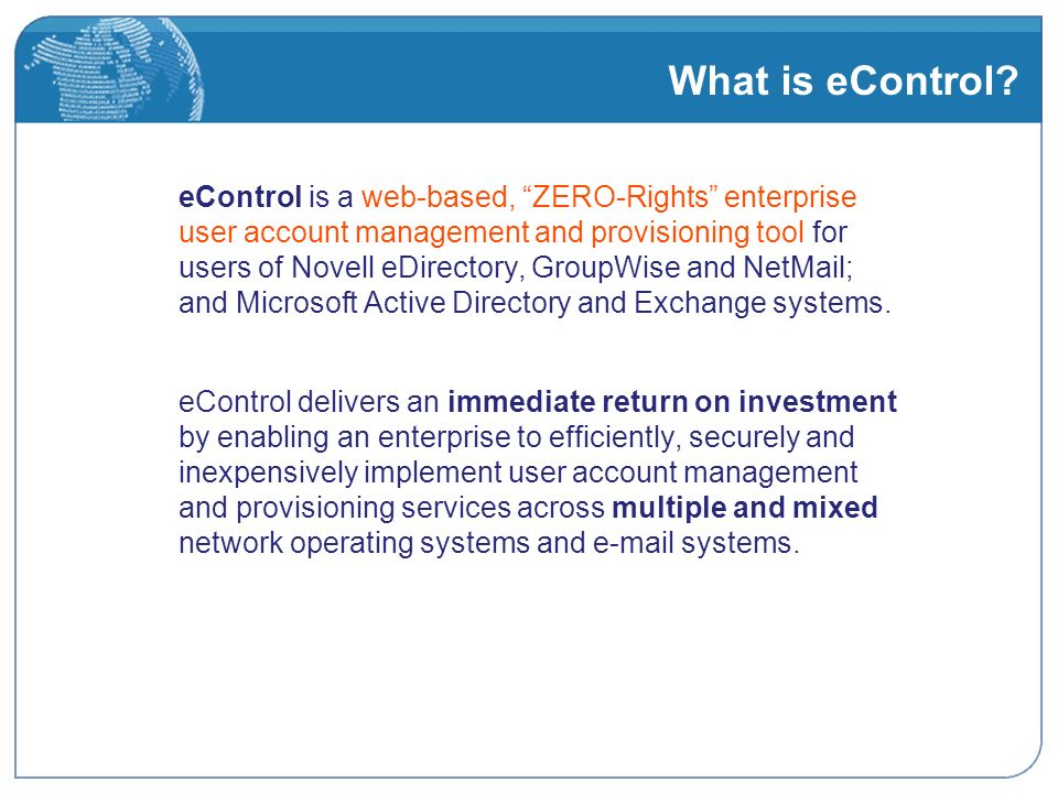 What is eControl.
