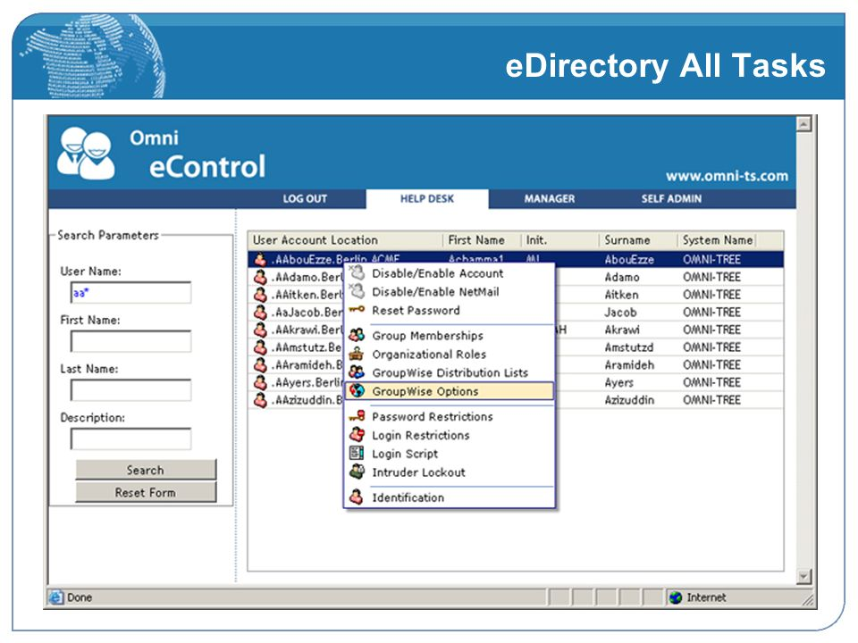 eDirectory All Tasks