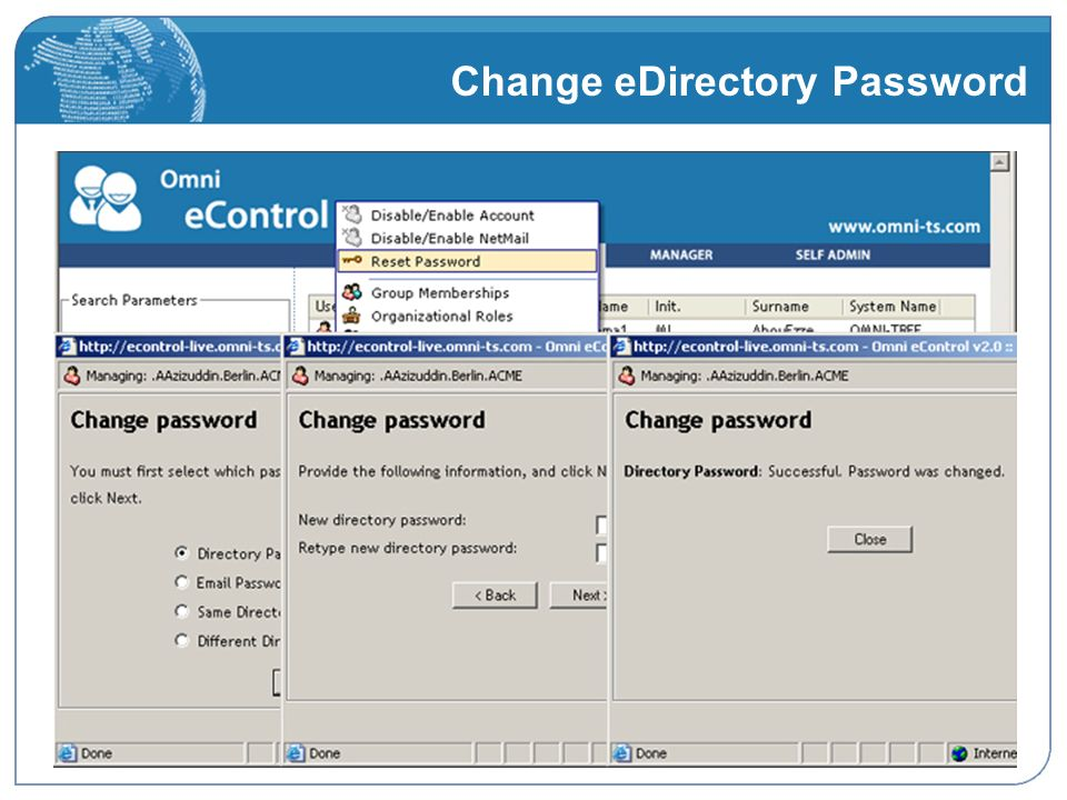 Change eDirectory Password