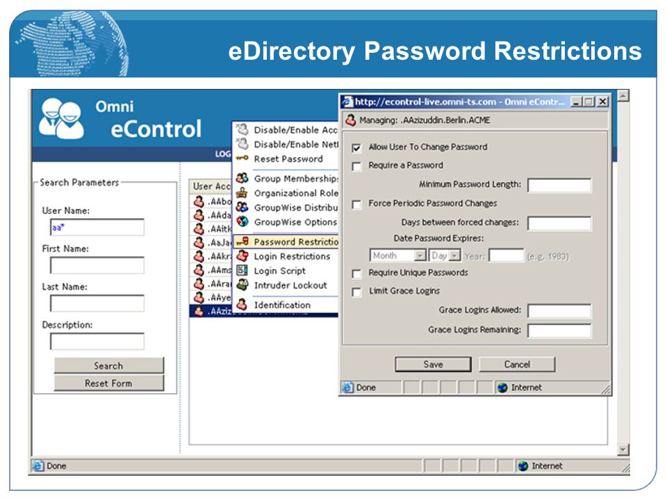 eDirectory Password Restrictions