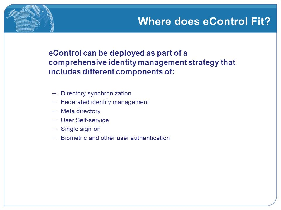 Where does eControl Fit.