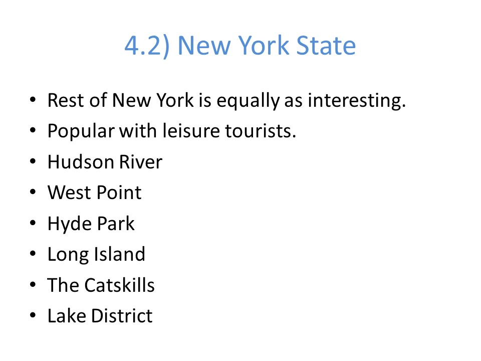 4.2) New York State Rest of New York is equally as interesting.