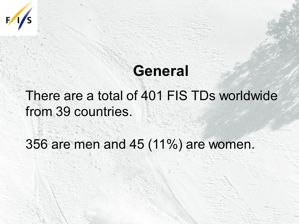 General There are a total of 401 FIS TDs worldwide from 39 countries.