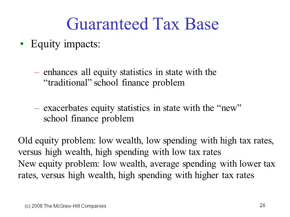 (c) 2008 The McGraw Hill Companies 26 Guaranteed Tax Base Equity impacts: –enhances all equity statistics in state with the traditional school finance problem –exacerbates equity statistics in state with the new school finance problem Old equity problem: low wealth, low spending with high tax rates, versus high wealth, high spending with low tax rates New equity problem: low wealth, average spending with lower tax rates, versus high wealth, high spending with higher tax rates