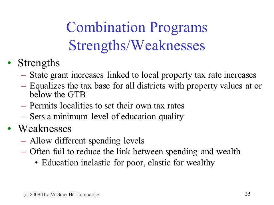 (c) 2008 The McGraw Hill Companies 35 Combination Programs Strengths/Weaknesses Strengths –State grant increases linked to local property tax rate increases –Equalizes the tax base for all districts with property values at or below the GTB –Permits localities to set their own tax rates –Sets a minimum level of education quality Weaknesses –Allow different spending levels –Often fail to reduce the link between spending and wealth Education inelastic for poor, elastic for wealthy