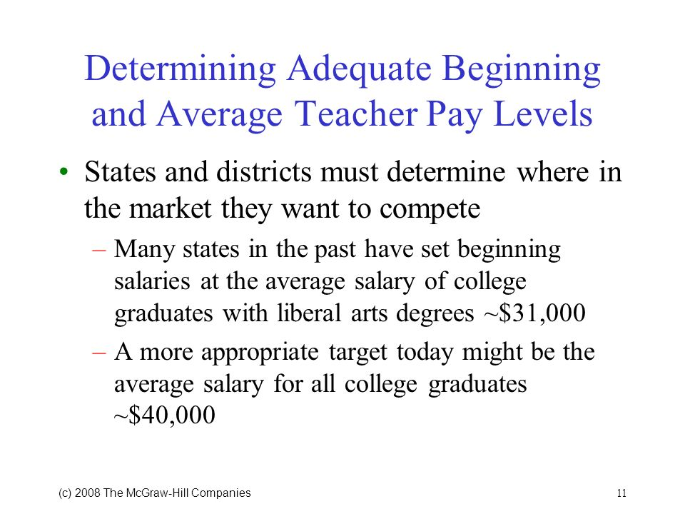 11 (c) 2008 The McGraw Hill Companies Determining Adequate Beginning and Average Teacher Pay Levels States and districts must determine where in the market they want to compete –Many states in the past have set beginning salaries at the average salary of college graduates with liberal arts degrees ~$31,000 –A more appropriate target today might be the average salary for all college graduates ~$40,000