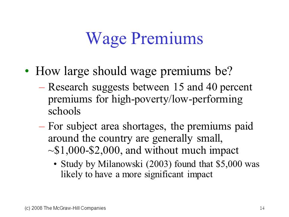 14 (c) 2008 The McGraw Hill Companies Wage Premiums How large should wage premiums be.