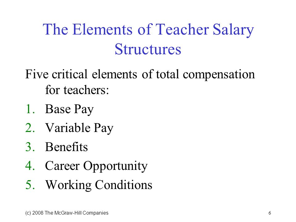 6 (c) 2008 The McGraw Hill Companies The Elements of Teacher Salary Structures Five critical elements of total compensation for teachers: 1.Base Pay 2.Variable Pay 3.Benefits 4.Career Opportunity 5.Working Conditions
