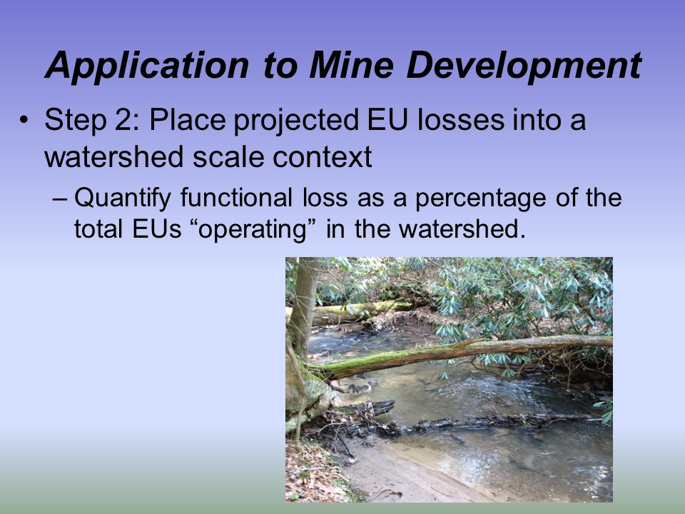 Application to Mine Development Step 2: Place projected EU losses into a watershed scale context –Quantify functional loss as a percentage of the total EUs operating in the watershed.