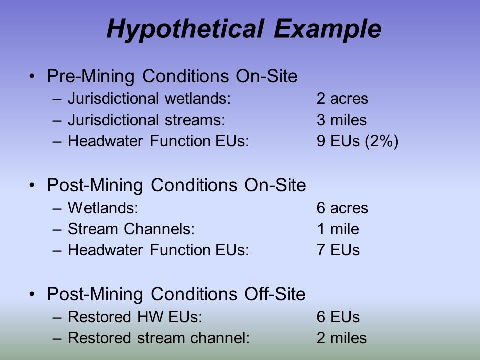 Hypothetical Example Pre-Mining Conditions On-Site –Jurisdictional wetlands:2 acres –Jurisdictional streams:3 miles –Headwater Function EUs:9 EUs (2%) Post-Mining Conditions On-Site –Wetlands:6 acres –Stream Channels:1 mile –Headwater Function EUs:7 EUs Post-Mining Conditions Off-Site –Restored HW EUs:6 EUs –Restored stream channel:2 miles