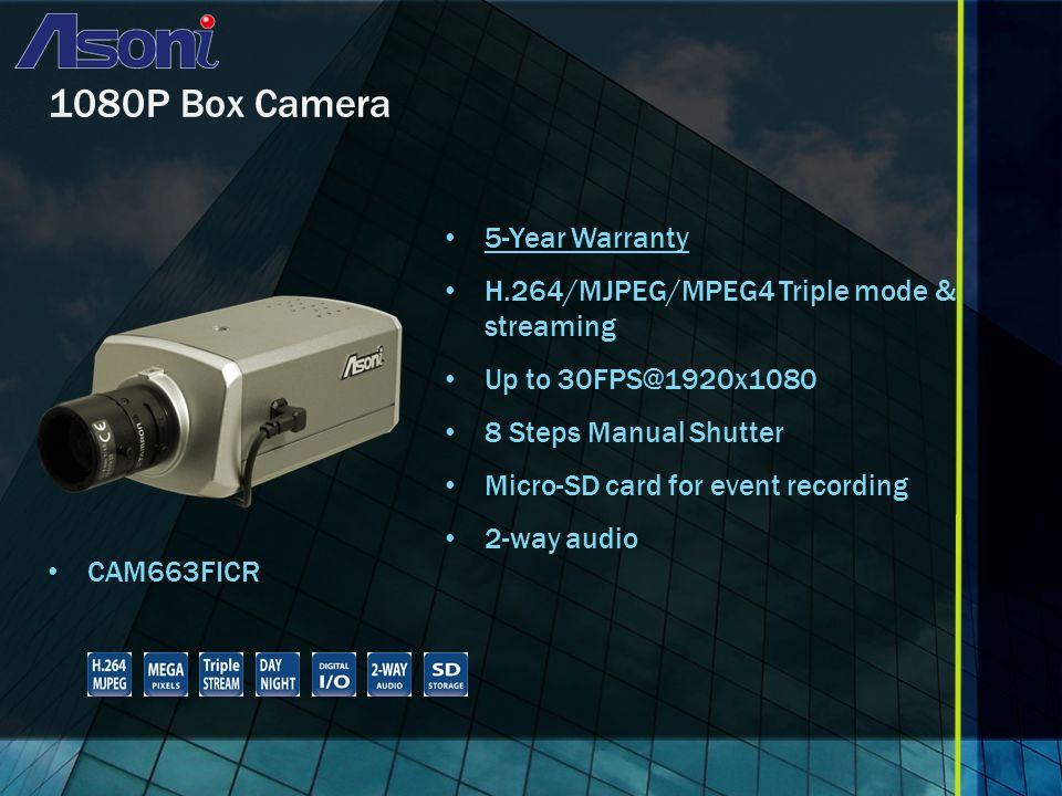 1080P Box Camera CAM663FICR 5-Year Warranty H.264/MJPEG/MPEG4 Triple mode & streaming Up to 8 Steps Manual Shutter Micro-SD card for event recording 2-way audio