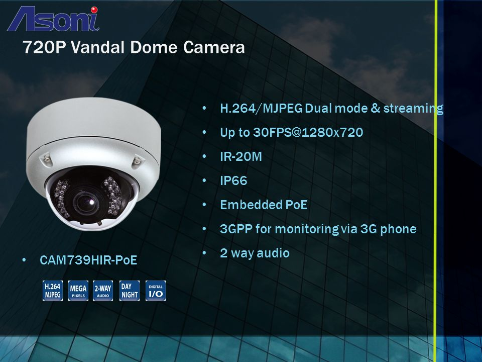 720P Vandal Dome Camera CAM739HIR-PoE H.264/MJPEG Dual mode & streaming Up to IR-20M IP66 Embedded PoE 3GPP for monitoring via 3G phone 2 way audio