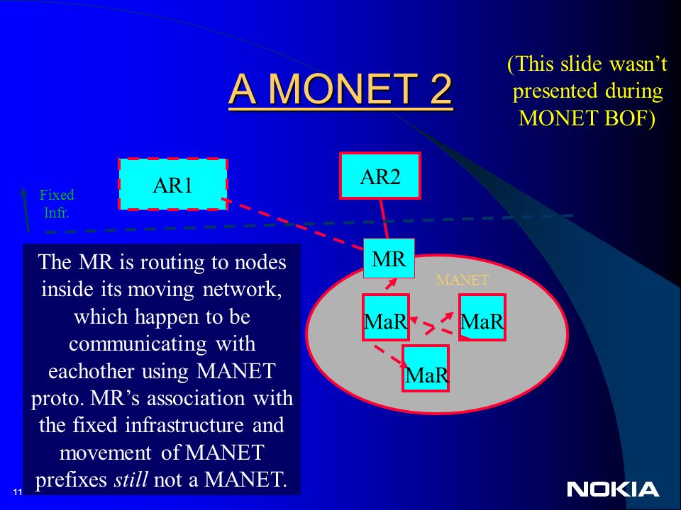 11 © 2002 A MONET 2 AR2 MR AR1 The MR is routing to nodes inside its moving network, which happen to be communicating with eachother using MANET proto.