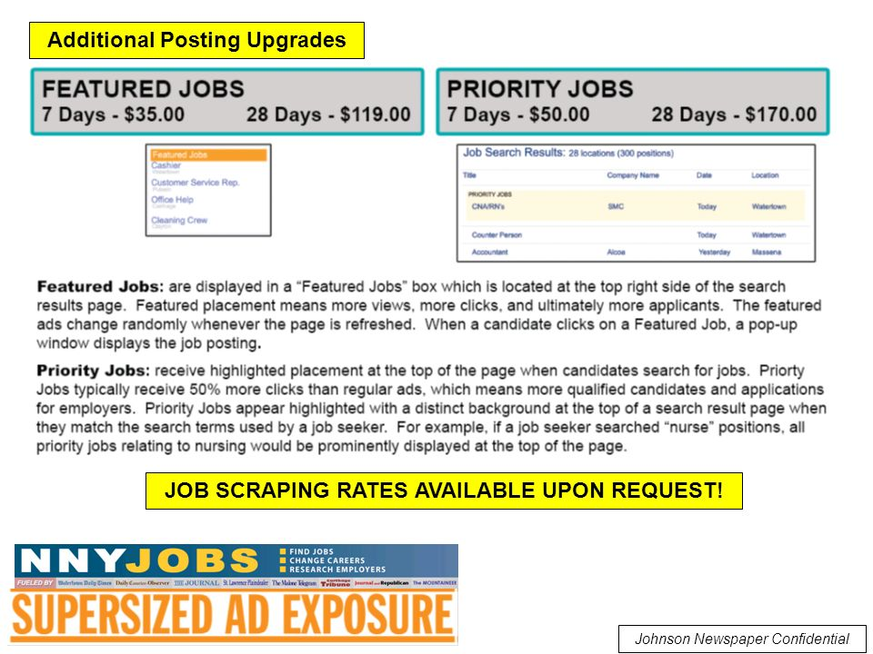 Johnson Newspaper Confidential Additional Posting Upgrades JOB SCRAPING RATES AVAILABLE UPON REQUEST!
