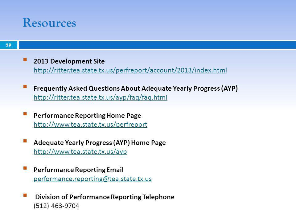 Resources 59 2013 Development Site http://ritter.tea.state.tx.us/perfreport/account/2013/index.html http://ritter.tea.state.tx.us/perfreport/account/2013/index.html Frequently Asked Questions About Adequate Yearly Progress (AYP) http://ritter.tea.state.tx.us/ayp/faq/faq.html http://ritter.tea.state.tx.us/ayp/faq/faq.html Performance Reporting Home Page http://www.tea.state.tx.us/perfreport http://www.tea.state.tx.us/perfreport Adequate Yearly Progress (AYP) Home Page http://www.tea.state.tx.us/ayp http://www.tea.state.tx.us/ayp Performance Reporting Email performance.reporting@tea.state.tx.us performance.reporting@tea.state.tx.us Division of Performance Reporting Telephone (512) 463-9704