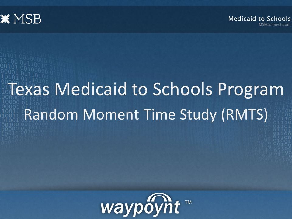 Texas Medicaid to Schools Program Random Moment Time Study (RMTS)