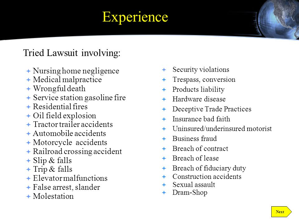 Introduction Introduction Twenty Four years experience handling civil litigation in Northeast Texas: Trial experience in a wide range of civil litigation Board certification in Personal Injury Trial Law Appellate experience in civil litigation Mini-Focus Group Risk Analysis Cost Management Comprehensive Reporting Next