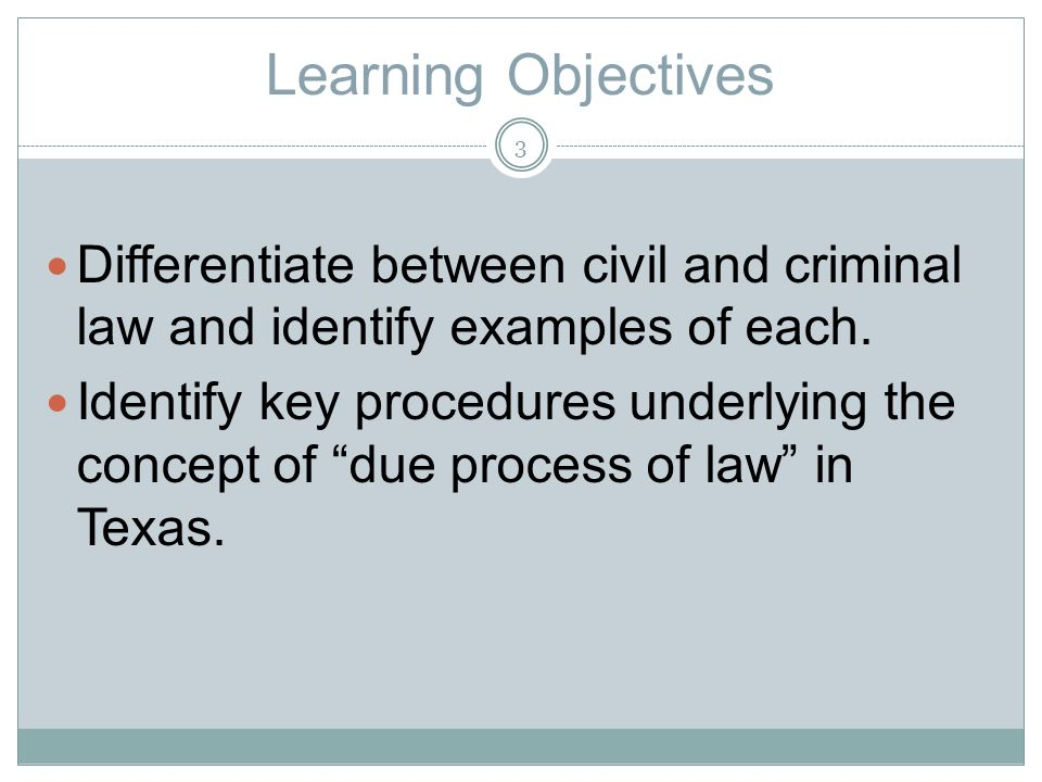 Learning Objectives Differentiate between civil and criminal law and identify examples of each.