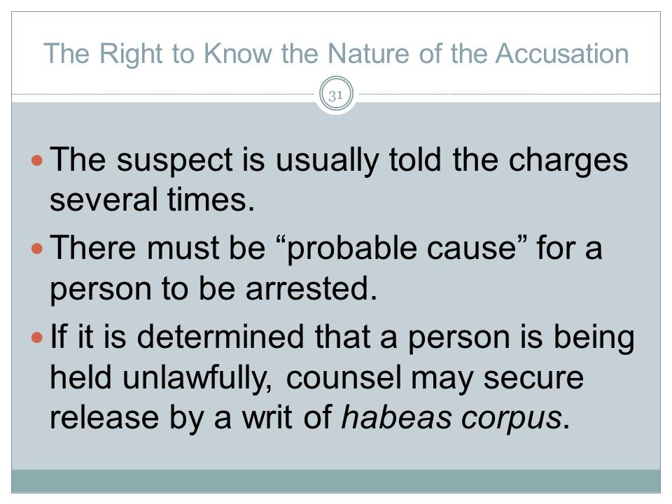 The Right to Know the Nature of the Accusation The suspect is usually told the charges several times.