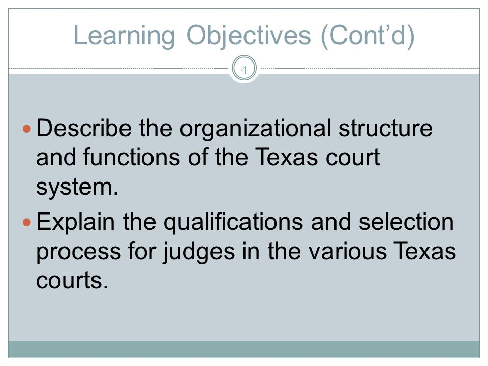 Learning Objectives (Contd) Describe the organizational structure and functions of the Texas court system.