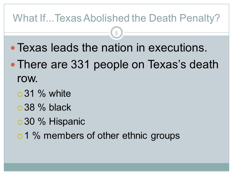 What If...Texas Abolished the Death Penalty. Texas leads the nation in executions.