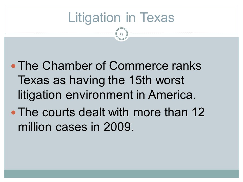 Litigation in Texas The Chamber of Commerce ranks Texas as having the 15th worst litigation environment in America.