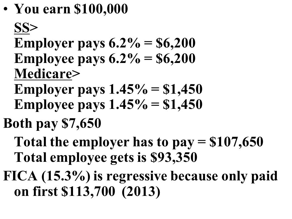 You earn $100,000 SS> Employer pays 6.2% = $6,200 Employee pays 6.2% = $6,200 Medicare> Employer pays 1.45% = $1,450 Employee pays 1.45% = $1,450 Both pay $7,650 Total the employer has to pay = $107,650 Total employee gets is $93,350 FICA (15.3%) is regressive because only paid on first $113,700 (2013)