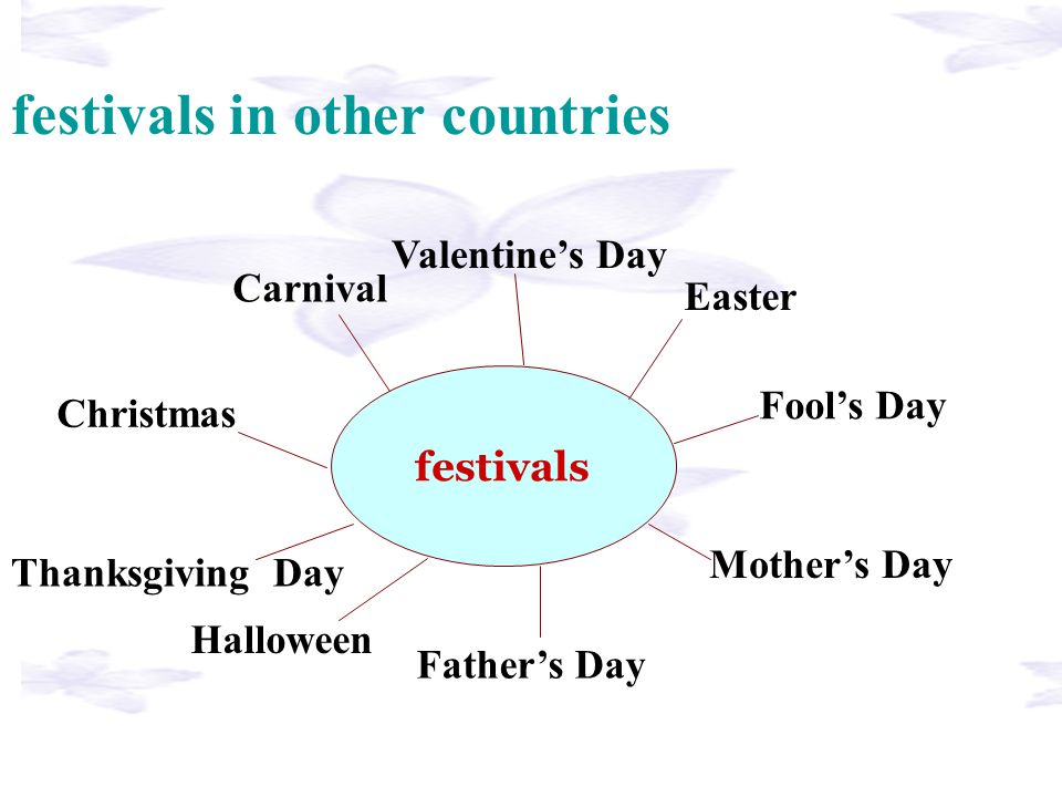 festivals festivals in other countries Christmas Fools Day Valentines Day Carnival Easter Thanksgiving Day Mothers Day Fathers Day Halloween