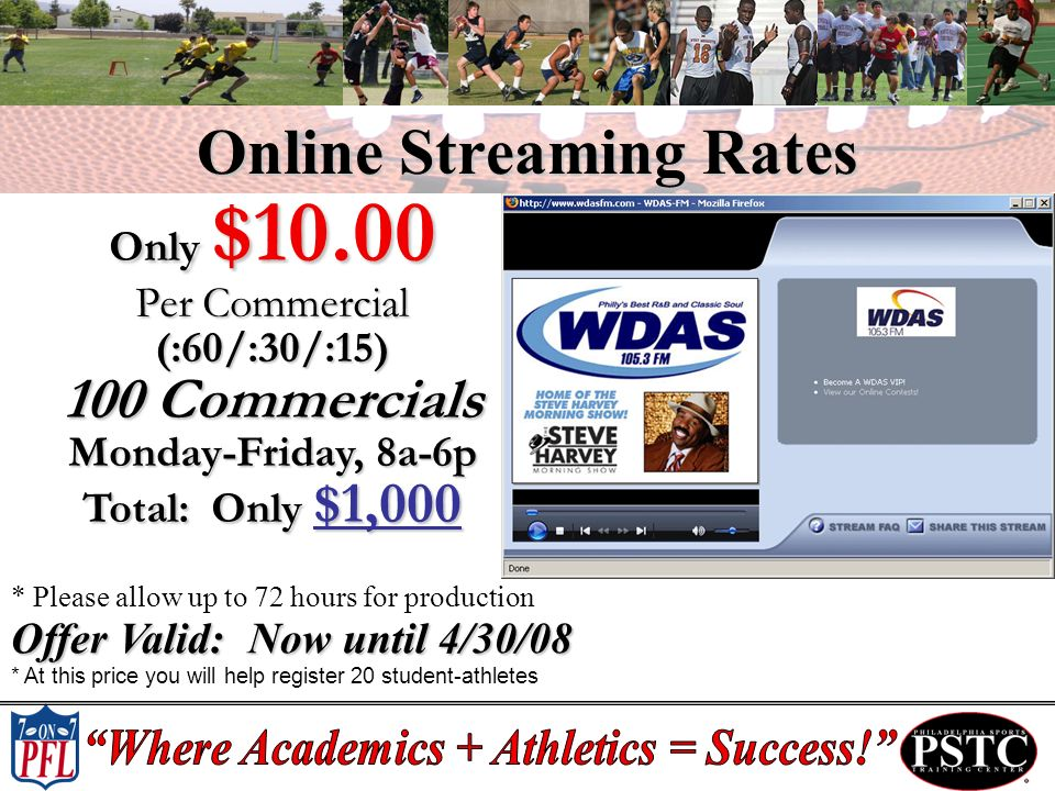 Online Streaming Rates Only $10.00 Per Commercial (:60/:30/:15) 100 Commercials Monday-Friday, 8a-6p Total: Only $1,000 * Please allow up to 72 hours for production Offer Valid: Now until 4/30/08 * At this price you will help register 20 student-athletes