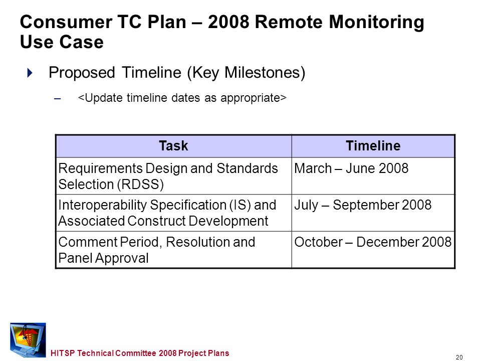 19 HITSP Technical Committee 2008 Project Plans Consumer TC Plan – 2008 Remote Monitoring Use Case Proposed Approach –Scope for 2008 –Opportunities for Reuse etc.… –Domain TC Support Required
