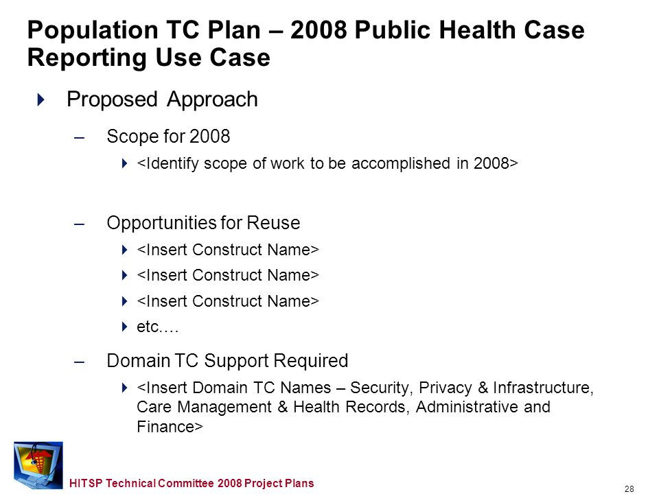 27 HITSP Technical Committee 2008 Project Plans Population TC Plan – 2008 Public Health Case Reporting Use Case Use Case Description –