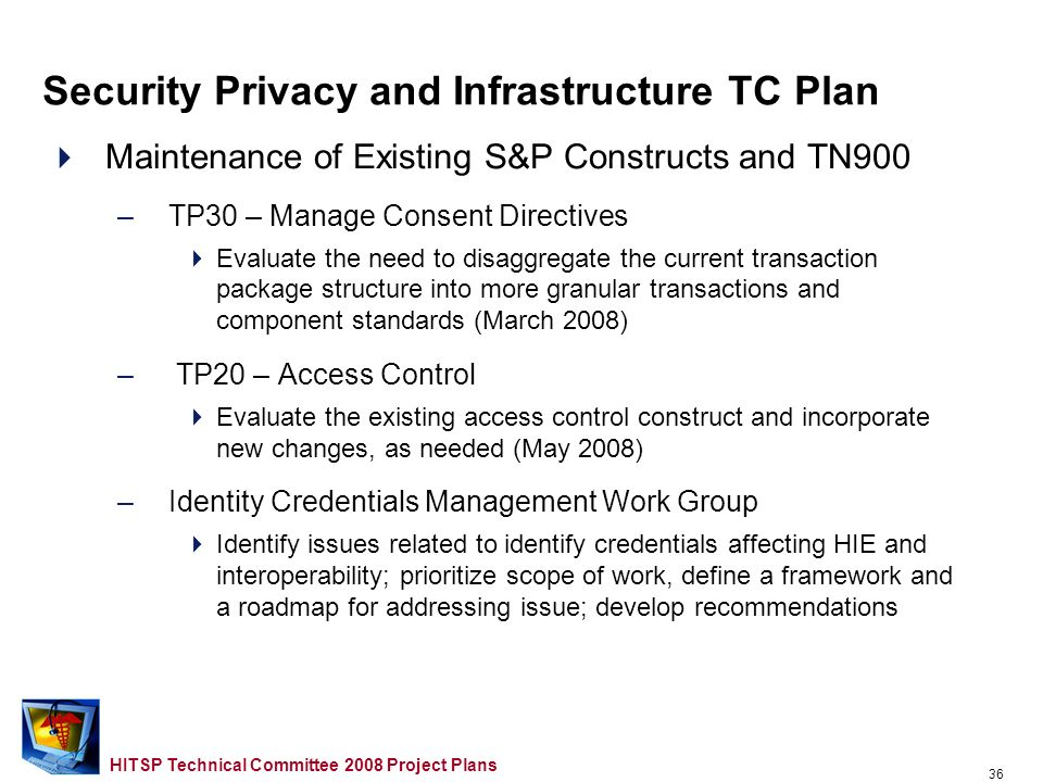 35 HITSP Technical Committee 2008 Project Plans Outline Overview Provider TC Project Plan Consumer TC Project Plan Population TC Project Plan Security, Privacy and Infrastructure TC Project Plan Care Management and Health Records TC Project Plan Administrative and Finance TC Project Plan