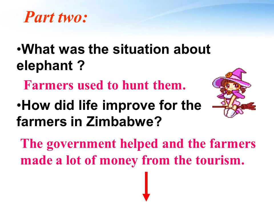 The second stop Purpose: to go to a place with wildlife _________ Place: Zimbabwe Animal: African ________ Situation: used to be hunted while now being protected by farmers making money from ____________ protection elephant tourism / tourists