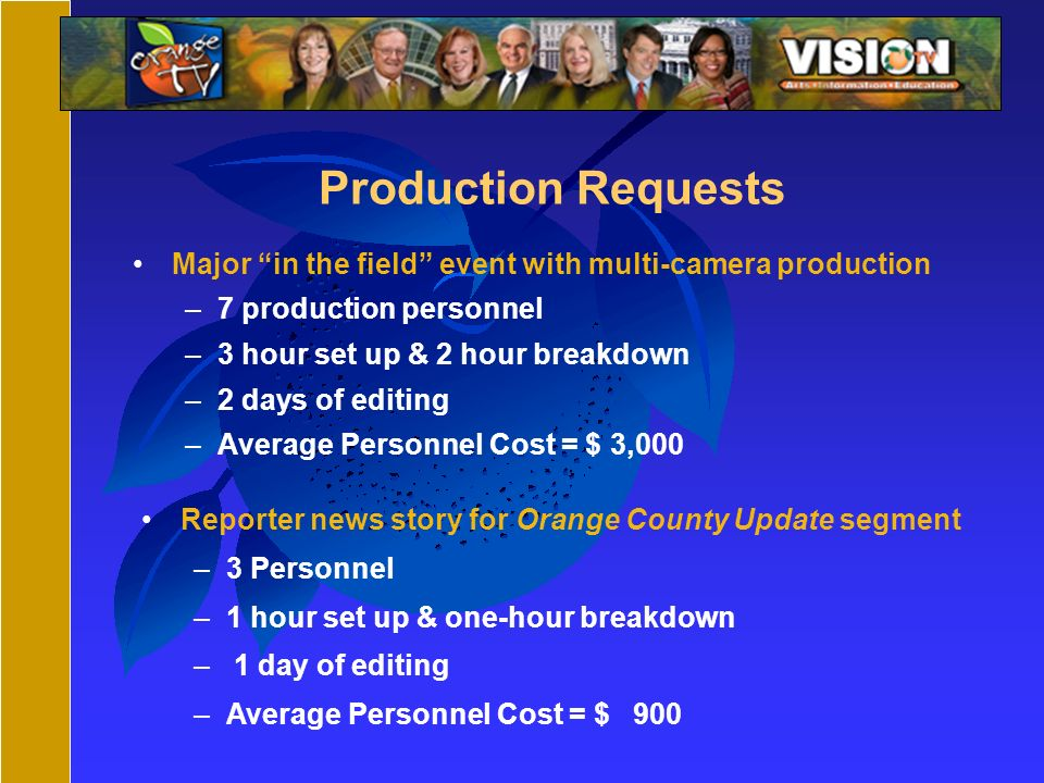 Production Requests Major in the field event with multi-camera production –7 production personnel –3 hour set up & 2 hour breakdown –2 days of editing –Average Personnel Cost = $ 3,000 Reporter news story for Orange County Update segment –3 Personnel –1 hour set up & one-hour breakdown – 1 day of editing –Average Personnel Cost = $ 900